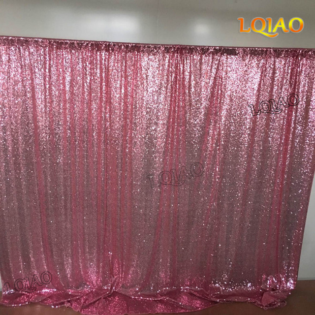 LQIAO 10ft10ft Pink Gold Iridescent Shimmer Sequin Fabric Photography Backdrop Curtain For Wedding