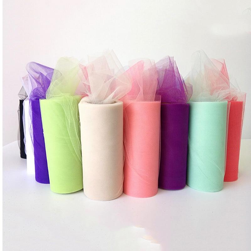Keythemelife 22mX15cm 1PCS Bouquet Wraps Wedding Table Decoration Yarn Roll Crystal Tulle Organza Sheer Gauze Element E3