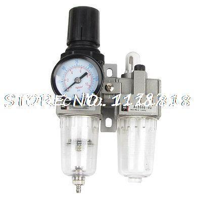AC2010-02 Polycarbonate Air Source Treatment Pneumatic Filter Regulator w Gauge 397 15 pneumatic air source treatment filter regulator