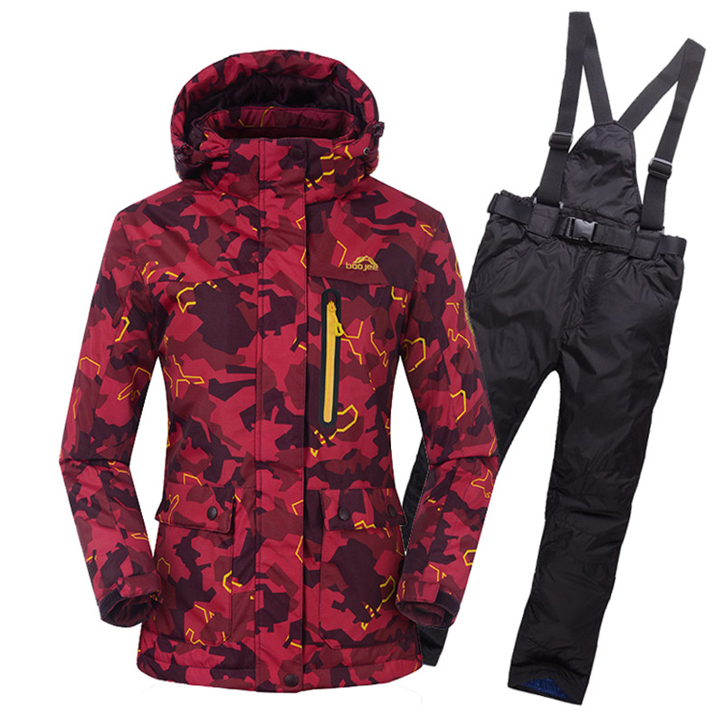 free shipping ski snowboard jacket pants women warm clothing trouser outdoor sport wear camping riding skiing thicken female set NEW Women Camouflage Ski Jacket+Pant Hooded Skiing Snowboard Super Warm Clothing Cycling Suit Thicken Thermal Coat Trouser 2017