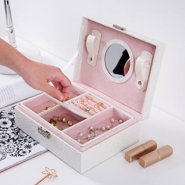 OTHERHOUSE de cuero PU joyería caja de almacenamiento portátil caso joya organizador de boda de anillo de pulsera de collar de cajas de almacenamiento de