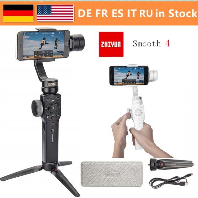 Zhiyun Smooth 4 Vlog 3 Trục Gimbal Ổn Định cho Iphone XS Max XR X 8 Plus 7 Huawei & Samsung S9, 8 & Máy quay Hành Động Gopro