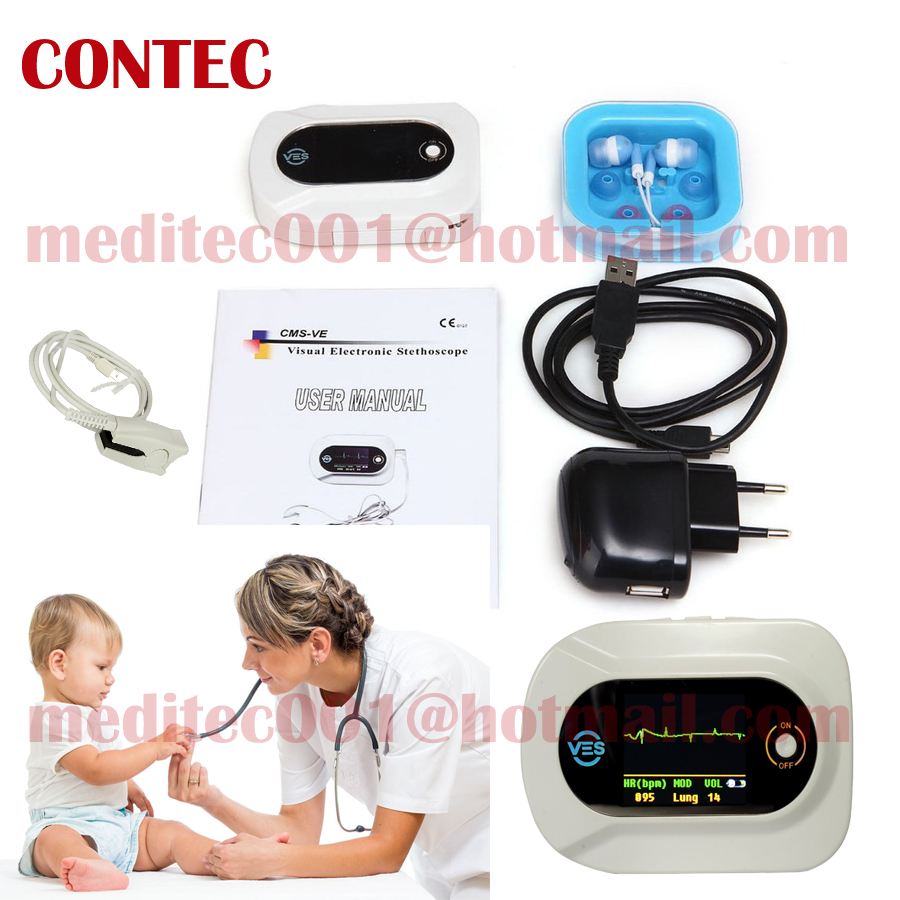 CONTEC Wholesale - -Visual Electronic Stethoscope (CMS-VE)--CE Certification SPO2 ,Pulse Oximeter 48hr Dispatch Stethoscope