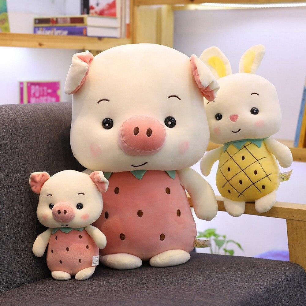 1 St 23-50 Cm Kawaii Gevulde Pluche Fruit Varken Speelgoed Konijn Meisje Gift Brinquedos Zacht Dier Speelgoed Voor Kinderen Baby Sussen Pop Gift