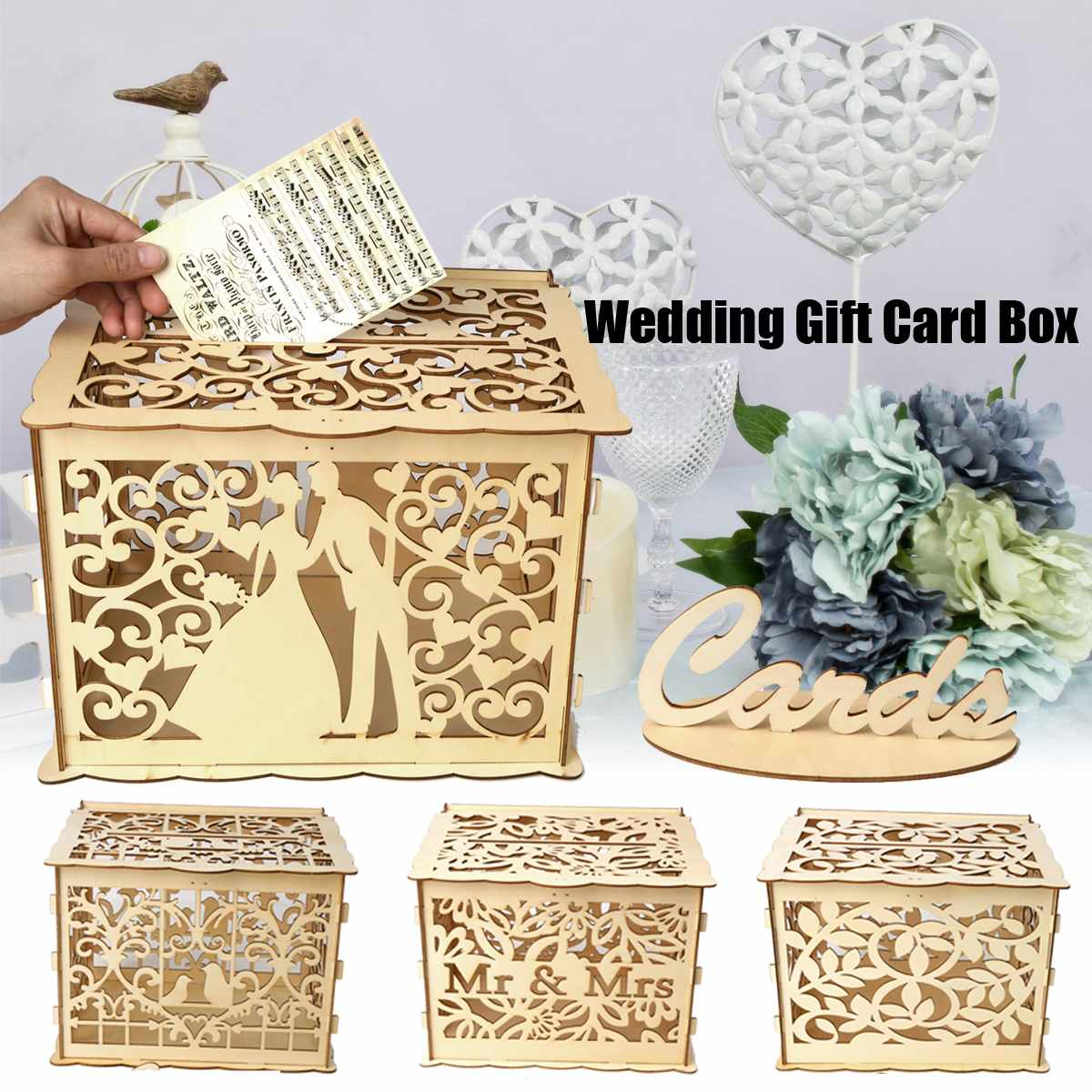 14 Types Diy Wedding Gift Card Box Wooden Money Box With Lock And Key Beautiful Wedding Decoration Supplies For Birthday Party Hot Sale 11 11