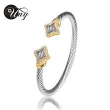 Moda europea y americana Cables chapado en oro pulsera 2015 nueva moda diseño caliente de la venta UNY017