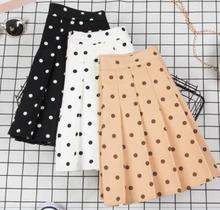 Korean Polka Dot Pleated Skirts Womens High Waist 2019 Summer Chic Chiffon Mini Sweet Skirt