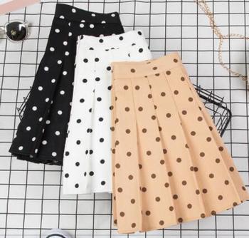 Korean Polka Dot Pleated Skirts Womens High Waist 2019 Summer Chic Chiffon Mini Pleated Sweet Skirt box pleated chiffon skirt