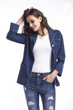 Free shipping spring and autumn women's casual street wear loose BF single-breasted lapel pocket solid color denim jacket