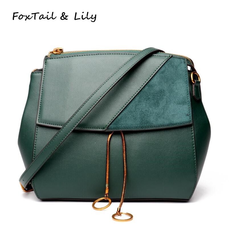 FoxTail & Lily New Arrival Genuine Leather Bags Handbags Women Famous Brands Shoulder Crossbody Bag Fashion Small Messenger Bags 2017 new female genuine leather handbags first layer of cowhide fashion simple women shoulder messenger bags bucket bags