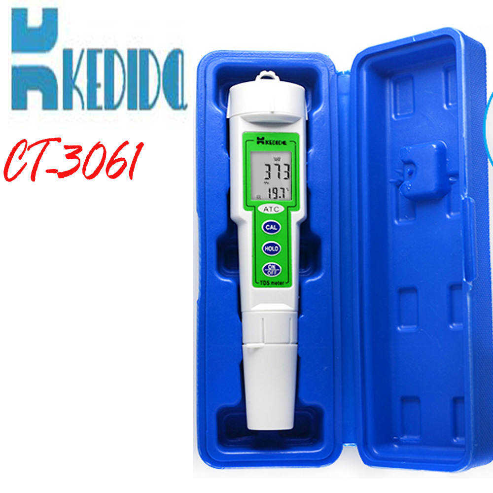CT-3061 TDS test pen digital tds meter range : 0 to 9999 ppm LCD indicates both ppm & Temp tds3 temp ppm lcd digital tds meter tester filter pen water quality purity teater temp pen