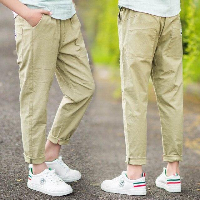 ea2b58d4f 2018 Summer Cotton Linen Pants Boy Children Thin Loose Trousers Boys  Elastic Waist Straight Ankle-length Pants 8 10 12 14 15