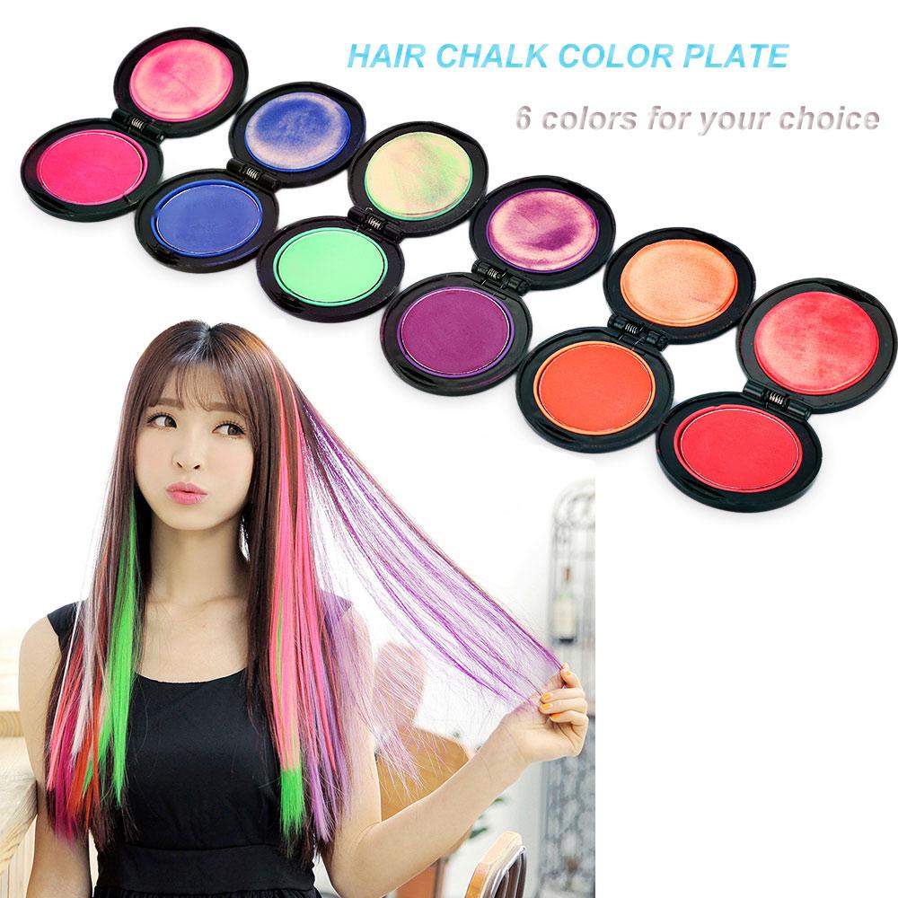 Magic 6 Colors Temporary Hair Dye Powder Cake Styling Hair Chalk Set