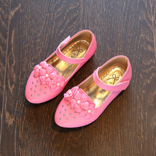 2017 Spring and Autumn New Children Peas Shoes Girls Crystal Princess Shoes Flat Bottles Shoes Little Girls Black Leather Shoes