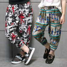 hot deal buy children's clothing 2017 summer new 100% cotton anti-mosquito pants boys and girls thin section printing sports pants