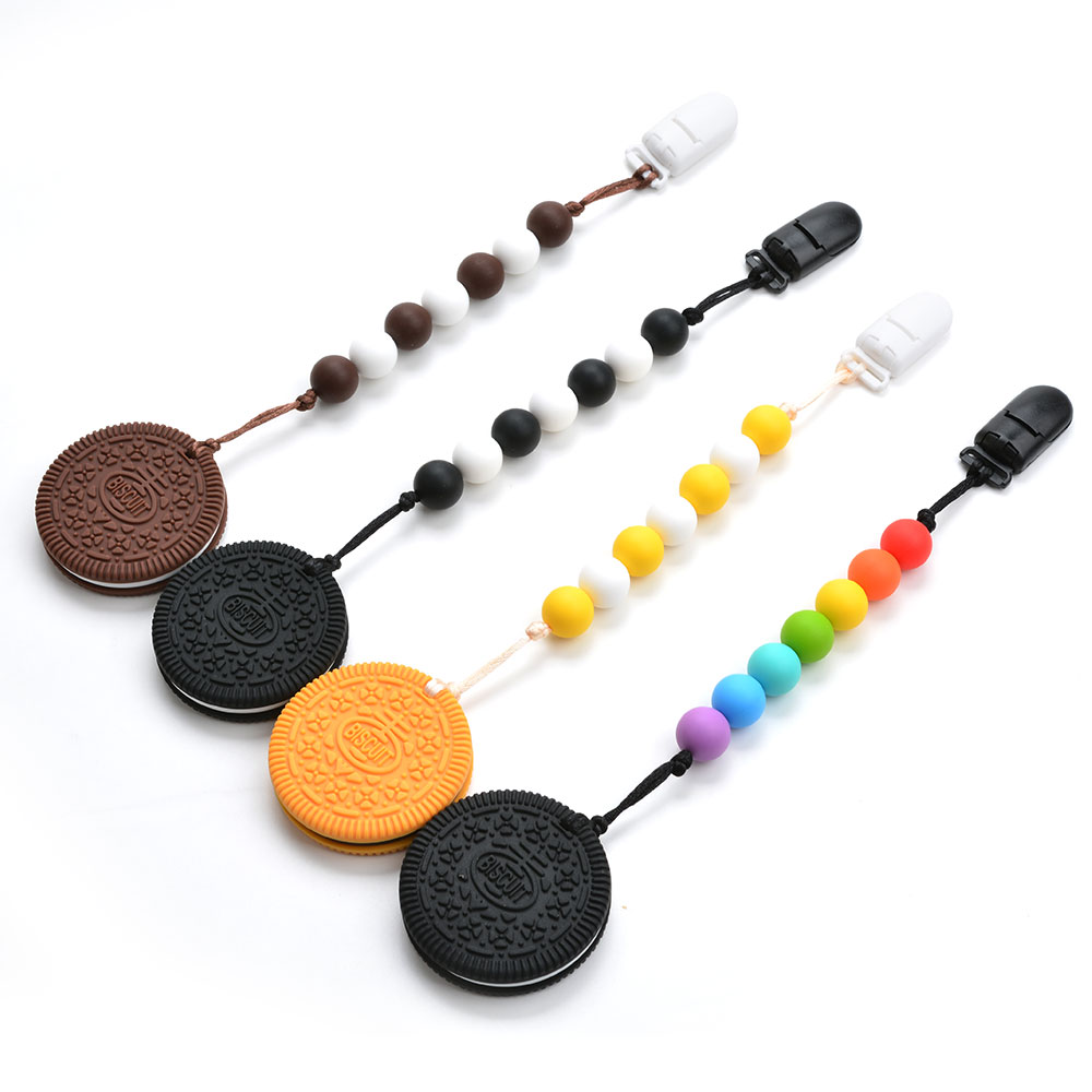 LOFCA Silicone Biscuit Toy Pendant Necklace Carrier Baby Safety Food Grade Silicone Jewelry Short Chain Clips Holder Accessory