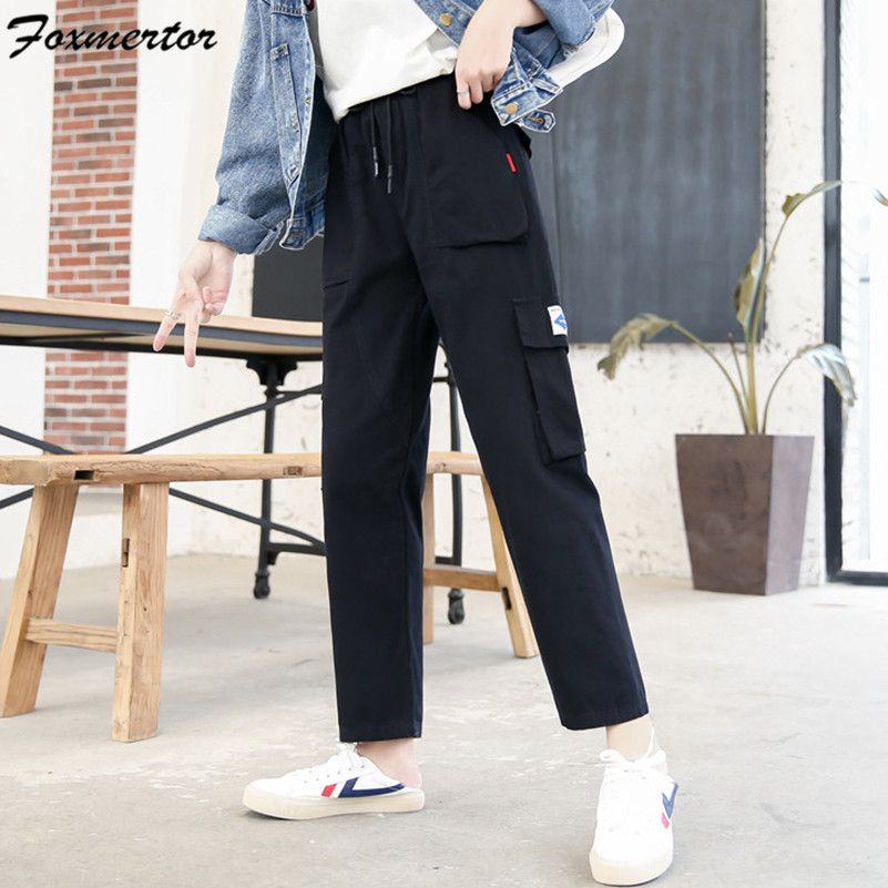 Female Cargo Pants 2019 Women Loose Korean Version Straight Trousers Hip Hop Pant Streetwear Black Casual Wild Women Men Pants