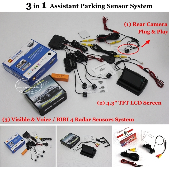 "Parking Sensors + Rear View Camera + 4.3"" LCD Screen = 3 in 1 Visual Alarm Parking System For Alfa Romeo 156 / 159 / 166 / 147"