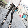 2016 New Fashion Sexy  Women's Hollow Faux Leather Leggings  Elastic Lady Lace Pants Trousers Ankle-Length Leggins