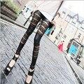 2016 Nova Moda Sexy Oco das Mulheres Leggings De Couro Falso Senhora Elástica calças de Renda Calças Tornozelo-Comprimento Leggins