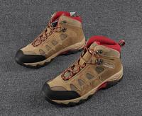 Men Women Professional Outdoor Hiking Shoes Genuine Leather Waterproof Breathable Hiking Boots CLORTS Walking Traveling Shoes