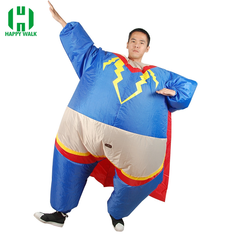 Inflatable Superman Costume Carnival Cosplay Superhero Costume Halloween Costume for Adult Carnival Costume Party Fancy Dress