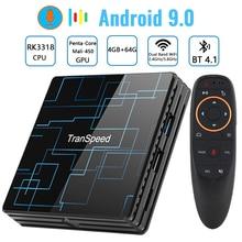 Transpeed 안드로이드 9.0 TV 박스 4G 64G 구글 보이스 어시스턴트 RK3318 4K 3D 울트라 TV 와이파이 블루투스 플레이 스토어 탑 박스