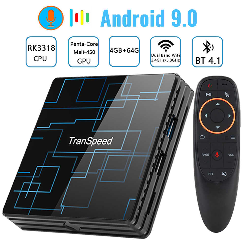 Transpeed Android 9.0 TV BOX 4G 64G Google Assistant vocal RK3318 4K 3D Ultra TV Wifi Bluetooth jouer magasin boîte supérieure