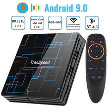 Transpeed Android 9.0 TV BOX 4G 64G Google Assistente Vocale RK3318 4K 3D Ultra TV Wifi Bluetooth play Store Top Box