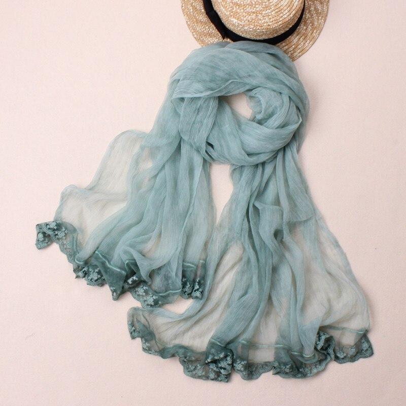 Новый стиль натурального шелка Твердые шарф с Кружева Градиент высокого качества для женщин