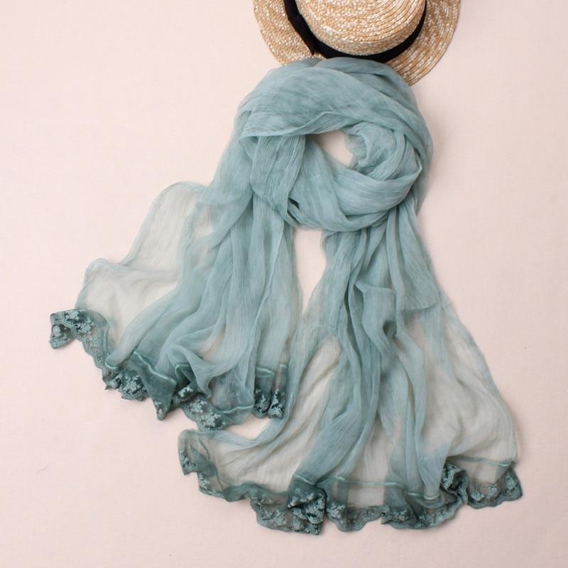 Nuevo estilo de seda auténtica bufanda sólida con gradiente de encaje de alta calidad para mujer