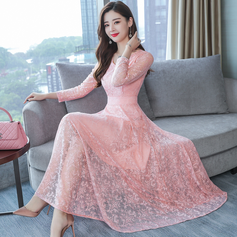 HANZANGL 2018 Autumn Winter Women s Long Sleeve V Neck Lace Dresses P lus  Velvet Warm Office Casual Long Party Dress 6 color-in Dresses from Women s  ... 67f754b76