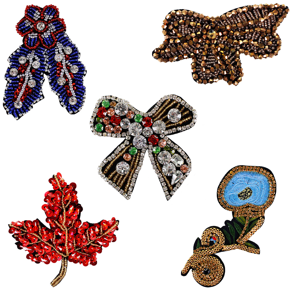 Maple leaves Crystal Beads Applique Patch Diamante Applique Dress Addition 1 Pce