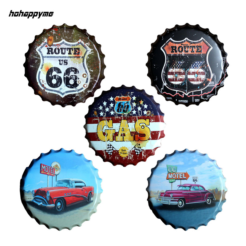 40 CM Round Route 66 Relief Bottle Cap Vintage Tin Sign Bar Pub Home Wall Decor Retro Metal Art Poster