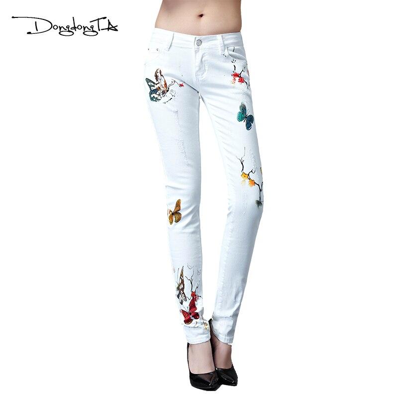 Dongdongta 2017 nové ženy dívka džíny bílá barva originální design po celé délce letní střední pas módní hubená tužka kalhoty džíny