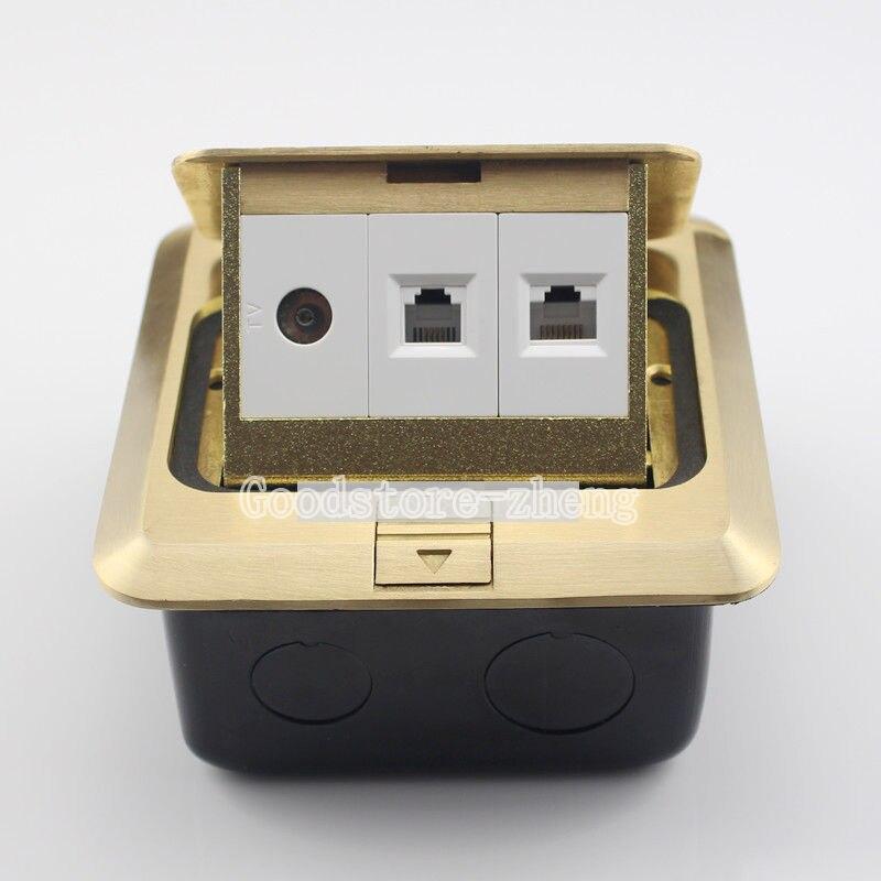 Kit de boîte de plancher Pop-up en Bronze multifonction Port TV réseau LAN RJ45 RJ11 prise de téléphone panneau prise de terre prise de courant
