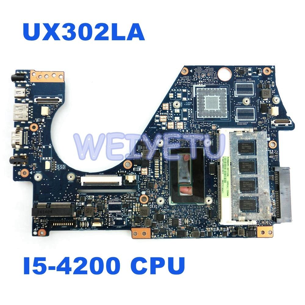 UX302LA I5 4200 Процессор материнской REV2.0 для ASUS UX302LA UX302L UX302 ноутбука Материнская плата системная плата 100% тестирование Бесплатная доставка