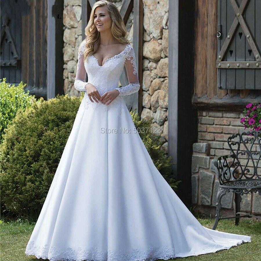 Satin A Line Wedding Dresses Robe De Mariée Long Sleeves V Neck Backless Lace Appliques Plus Size Vestido De Noiva Bridal Gowns