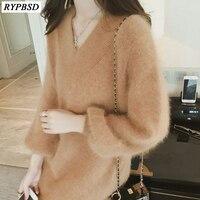 2017 New Velvet Women Sweater Long Korean Loose Autumn Winter Knitted Sweater Dress Fashion Women Cashmere