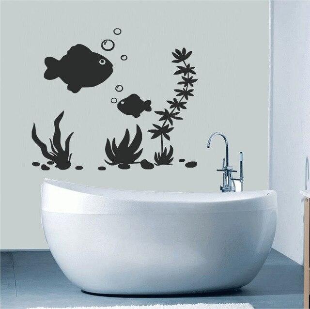 dasar laut stiker dinding ikan dinding kamar mandi stiker ubin tahan