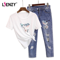 LIENZY Summer Women Beads 2 Piece Set Bird Sequined Short Sleeve T Shirt And Diamond Ripped