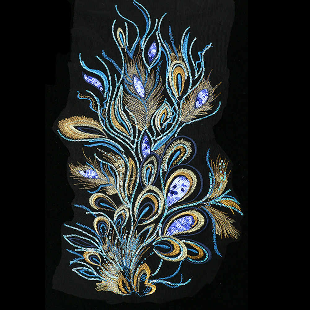 1 Uds Phoenix bordado de plumas lentejuelas tela parches para coser apliques pegatinas DIY boda novia accesorios vestido 31x61cm