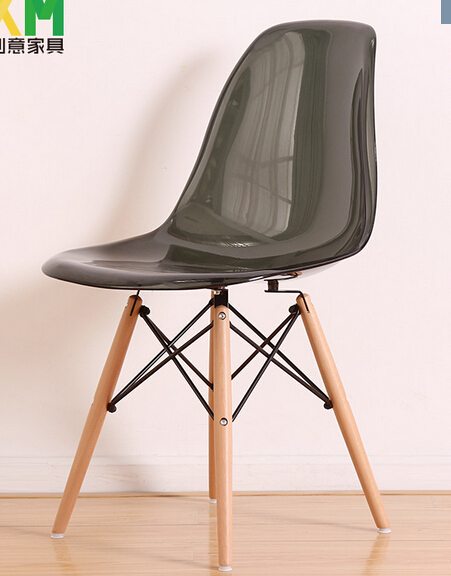 Clear/Transparent PP Modern Iconic Plastic Chair, Dowel Side Wood Base Chair,  3pcs