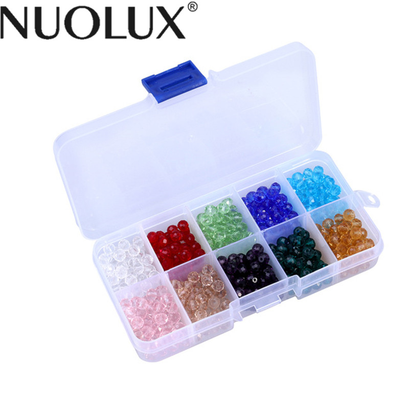 300Pcs Of 10 Colors Faceted Crystal Glass Beads Loose Finding Spacer Beads With Container Box For DIY Jewelry