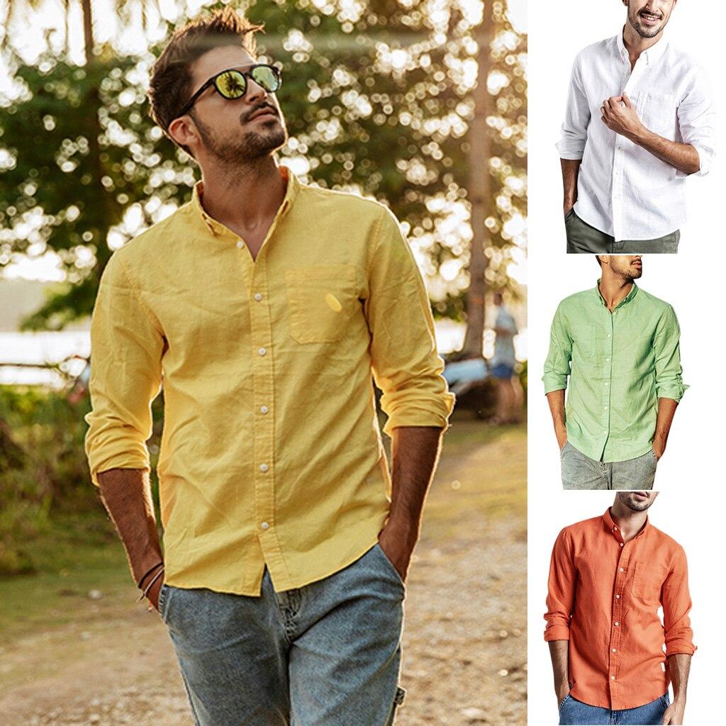 Fashion Mens Summer Button Casual Linen and Cotton Long Sleeve Top Blouse S-3XL camisas hombre manga larga #30