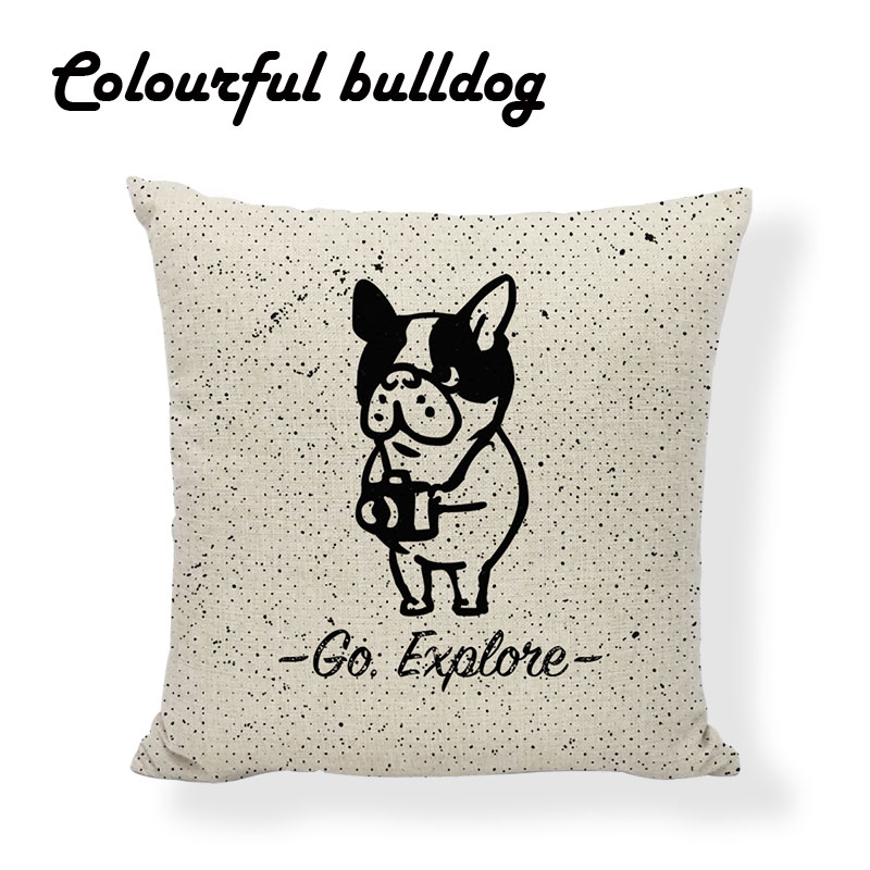 Designer Workout Puppy Pug Red French Bulldog Sloth Cushion Cover Aztec Feather Birthday 45X45Cm Linen Lounger Throw Pillow Case