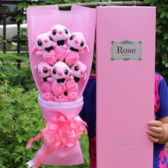 Apaffa Hemeng Kawaii dessin animé point Bouquet peluche peluches doux jouets en peluche Lilo point Bouquet cadeau d'anniversaire pour les adultes