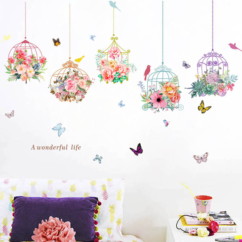 Colorful beautiful flower birdcage wall stickers for - Beautiful wall stickers for living room ...
