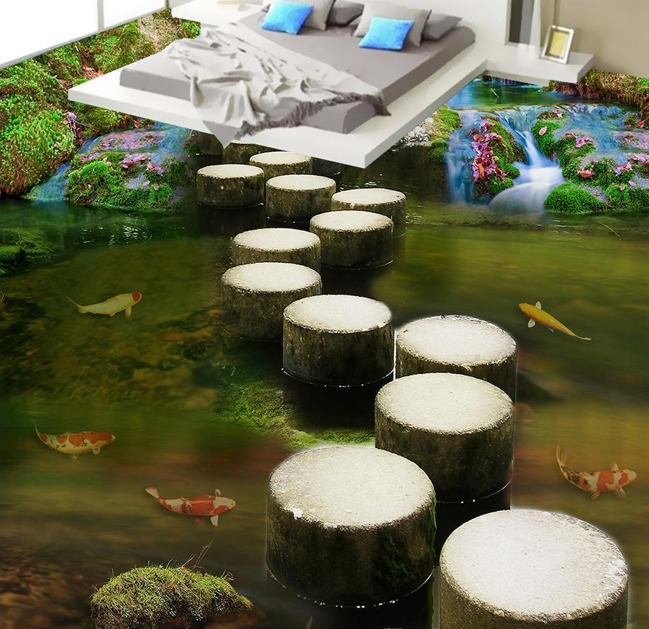 3d plancher peinture papier peint ruisseau pierre jetée pont 3D plancher pvc auto-adhésif papier peint 3d plancher