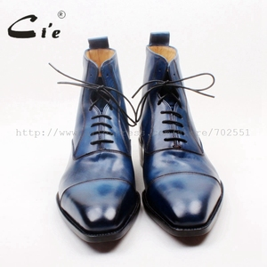 Image 3 - cie Square Captoe Lace Up Handmade Hand Painted Navy 100% Genuine Calf Leather Hidden Suture Goodear Welted Men Leather BootA156